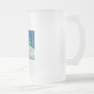 Shooting star folk naive art winter snow scene frosted glass beer mug