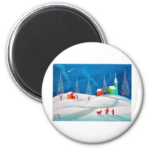 Shooting star folk naive art winter snow scene refrigerator magnets