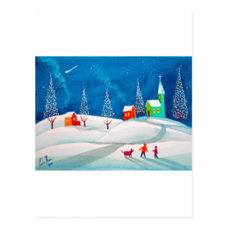 Shooting star folk naive art winter snow scene postcard