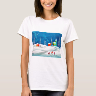 Shooting star folk naive art winter snow scene T-Shirt