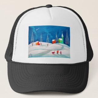Shooting star folk naive art winter snow scene trucker hat