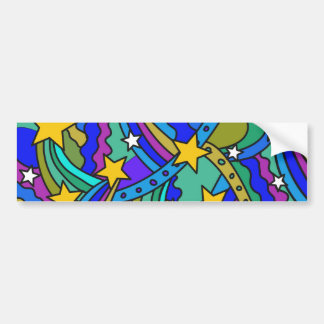 Shooting Star Hippie Pattern Bumper Sticker