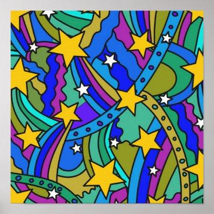 Shooting Star Hippie Pattern Print