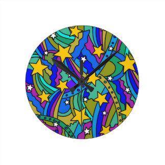 Shooting Star Hippie Pattern Round Clock