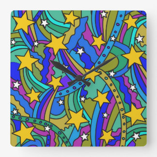 Shooting Star Hippie Pattern Square Wall Clock