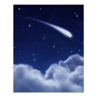 Shooting Star over Clouds Poster