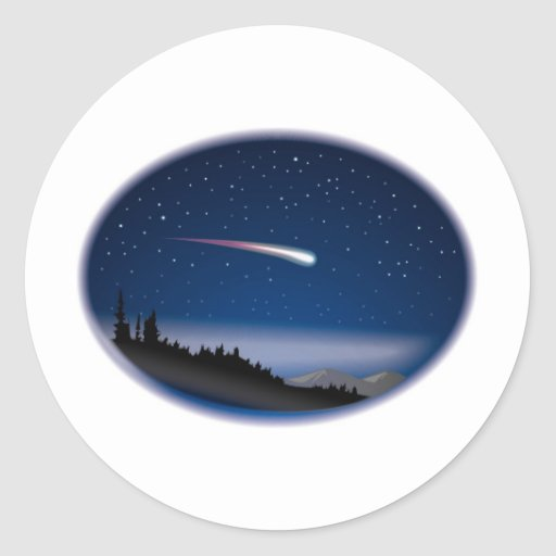 Shooting Star Over Night Landscape Classic Round Sticker
