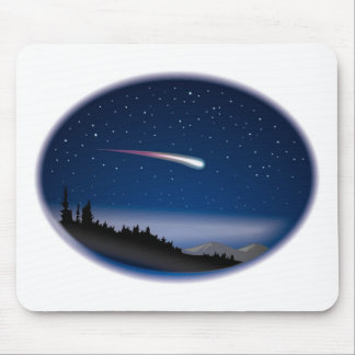 Shooting Star Over Night Landscape Mouse Pads