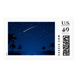 Shooting Star Over Palm Trees Postage