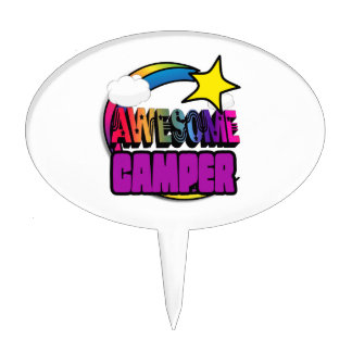 Shooting Star Rainbow Awesome Camper Cake Topper