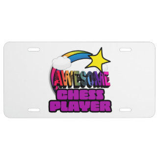 Shooting Star Rainbow Awesome Chess Player License Plate