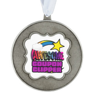 Shooting Star Rainbow Awesome Coupon Clipper Scalloped Pewter Christmas Ornament