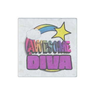 Shooting Star Rainbow Awesome Diva Stone Magnet