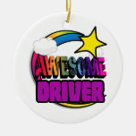Shooting Star Rainbow Awesome Driver Double-Sided Ceramic Round Christmas Ornament