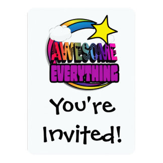 "Shooting Star Rainbow Awesome Everything 5.5"" X 7.5"" Invitation Card"