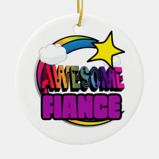 Shooting Star Rainbow Awesome Fiance Double-Sided Ceramic Round Christmas Ornament