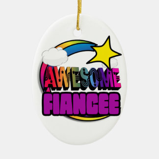 Shooting Star Rainbow Awesome Fiancee Double-Sided Oval Ceramic Christmas Ornament