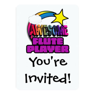 """Shooting Star Rainbow Awesome Flute Player 5.5"""" X 7.5"""" Invitation Card"""