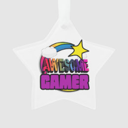 Shooting Star Rainbow Awesome Gamer Ornament