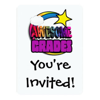 "Shooting Star Rainbow Awesome Grades 5.5"" X 7.5"" Invitation Card"