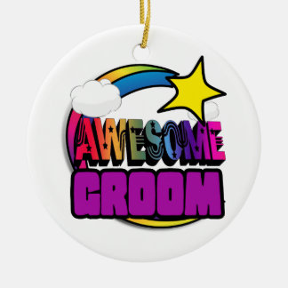 Shooting Star Rainbow Awesome Groom Double-Sided Ceramic Round Christmas Ornament