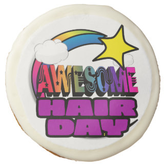 Shooting Star Rainbow Awesome Hair Day Sugar Cookie