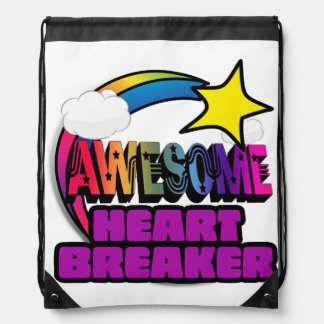 Shooting Star Rainbow Awesome Heart Breaker Drawstring Bag