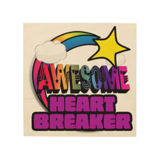 Shooting Star Rainbow Awesome Heart Breaker Wood Canvases
