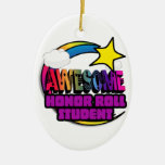 Shooting Star Rainbow Awesome Honor Roll Student Double-Sided Oval Ceramic Christmas Ornament