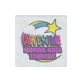 Shooting Star Rainbow Awesome Honor Roll Student Stone Magnet