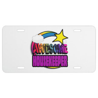 Shooting Star Rainbow Awesome Housekeeper License Plate