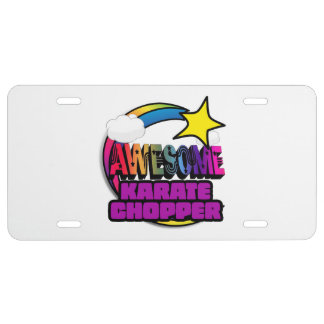 Shooting Star Rainbow Awesome Karate Chopper License Plate