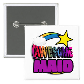Shooting Star Rainbow Awesome Maid Pinback Button