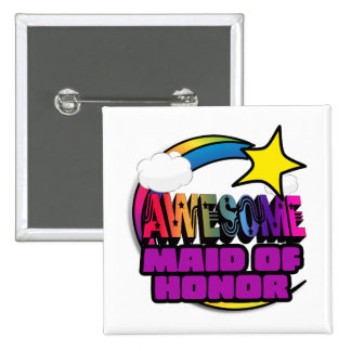 Shooting Star Rainbow Awesome Maid of Honor Pins