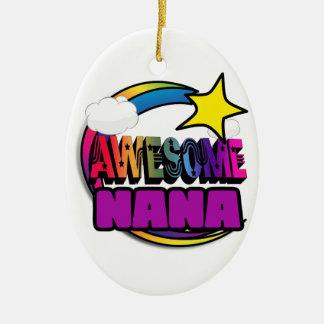 Shooting Star Rainbow Awesome Nana Double-Sided Oval Ceramic Christmas Ornament