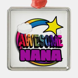 Shooting Star Rainbow Awesome Nana Square Metal Christmas Ornament