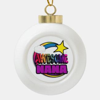 Shooting Star Rainbow Awesome Nana Ceramic Ball Christmas Ornament