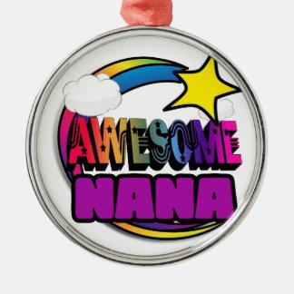 Shooting Star Rainbow Awesome Nana Round Metal Christmas Ornament
