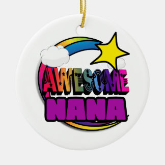 Shooting Star Rainbow Awesome Nana Double-Sided Ceramic Round Christmas Ornament