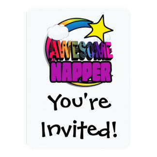 Shooting Star Rainbow Awesome Napper 5.5x7.5 Paper Invitation Card