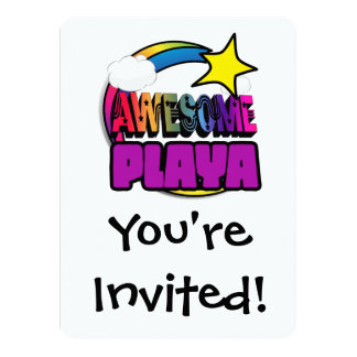 Shooting Star Rainbow Awesome Playa Custom Invitations