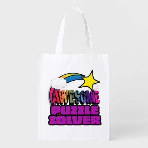 Shooting Star Rainbow Awesome Puzzle Solver Grocery Bags