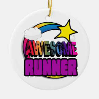 Shooting Star Rainbow Awesome Runner Double-Sided Ceramic Round Christmas Ornament