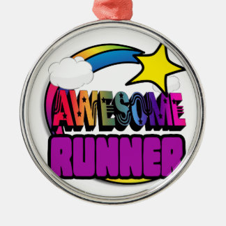 Shooting Star Rainbow Awesome Runner Round Metal Christmas Ornament