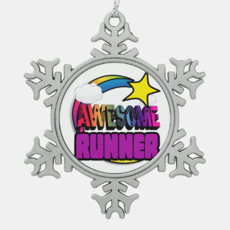 Shooting Star Rainbow Awesome Runner Snowflake Pewter Christmas Ornament