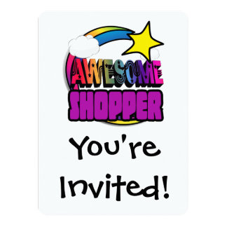 Shooting Star Rainbow Awesome Shopper 5.5x7.5 Paper Invitation Card