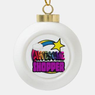 Shooting Star Rainbow Awesome Shopper Ceramic Ball Christmas Ornament