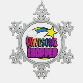Shooting Star Rainbow Awesome Shopper Snowflake Pewter Christmas Ornament
