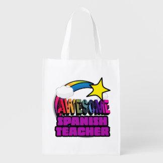 Shooting Star Rainbow Awesome Spanish Teacher Grocery Bag