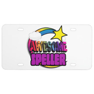 Shooting Star Rainbow Awesome Speller License Plate